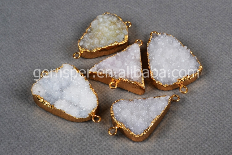 Gold Dipped Freeform Natural White Agate Druzy Drusy Connectors ...
