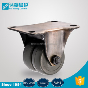 High quality grey sort rubber wheel antique brass rigid plated industrial metal caster