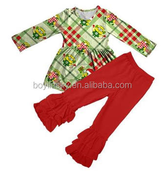 2016 Wholesale Fall Girl Clothes Set Cute Santa Children Newborn