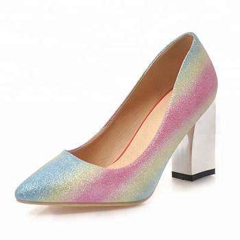 Zapatos De Arco Iris Gradiente Cómodos Tacones Gruesos Del Dedo Del Pie Puntiagudo Zapatos De Tacón Alto Zapatos De Vestir Zapatos Bombas Plus Tamaño