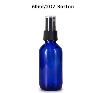 60ml 2OZ Cobalt blue boston round glass bottle with spray cap