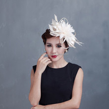 Feather flower shaped elegant bridal fascinator with clip