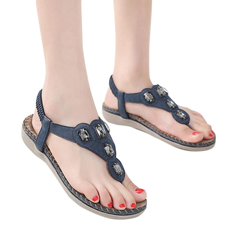 c24ffe62bd67fc Get Quotations · RAISINGTOP Fashion Women Flat Shoes Bohemia Lady Youth Girls  Rhinestone Sandals Flip Flop Thong Outdoor Shoes