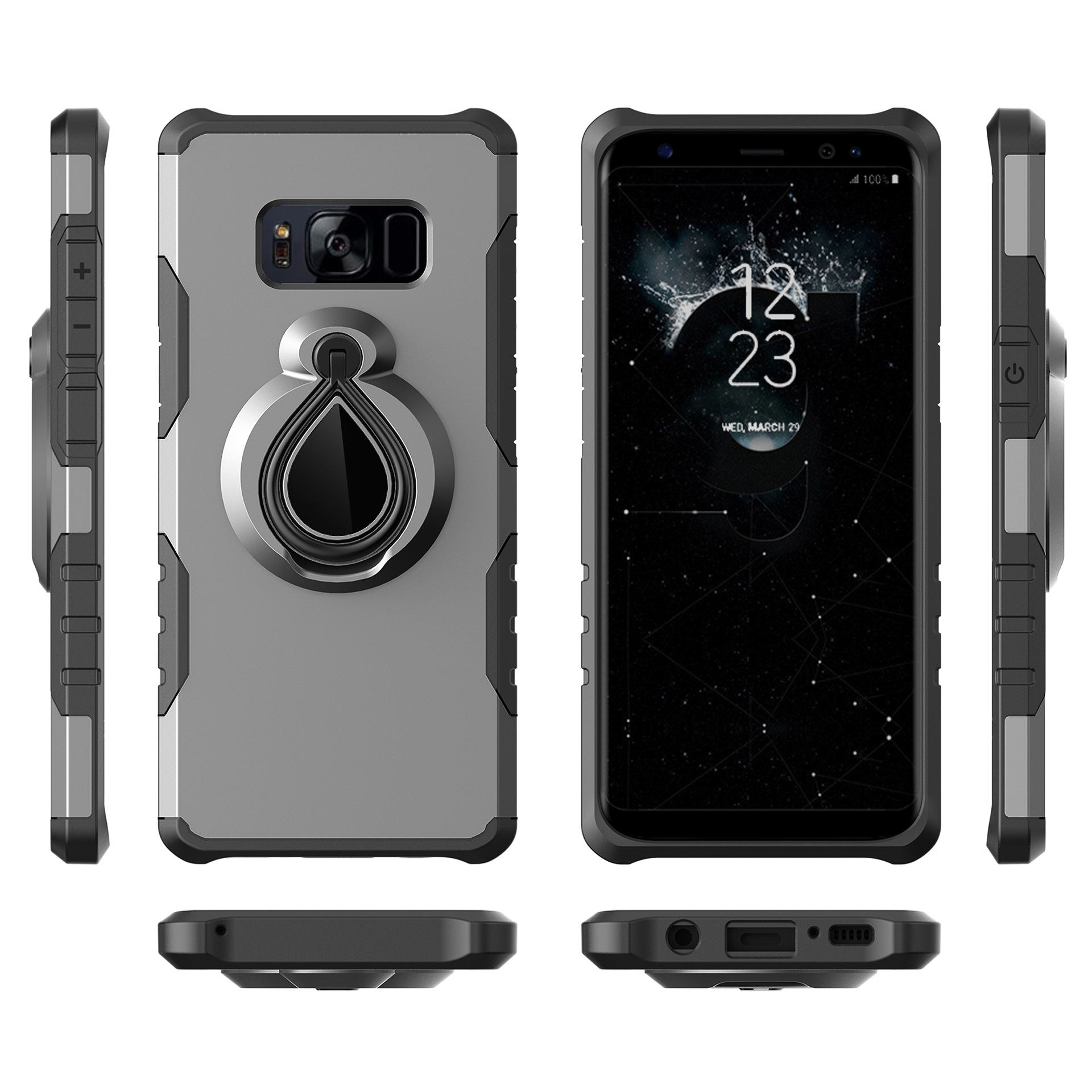 2 in 1 armor ring holder tpu pc rugged knight phone case for Samsung galaxy S8 plus  shockproof cover