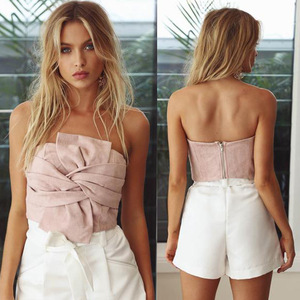 T10108 Women Strapless Boob Tube Tops Casual Suede Solid Crop Top