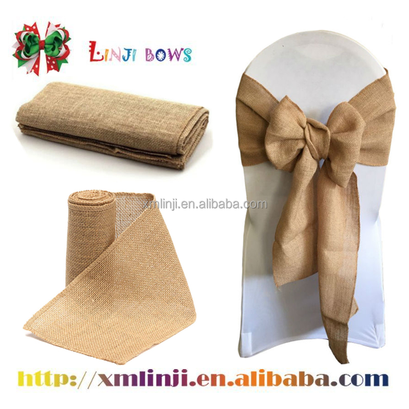 2016 Natural Jute burlap ribbon Wedding Chair Covers Party Decoration Home Textile
