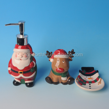 High Quality Hand painting Christmas Ceramic Bathroom Sets
