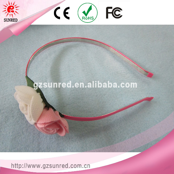 Wholesale Pink Steel Bow with Rose Hair band For Infant Hair Accessories