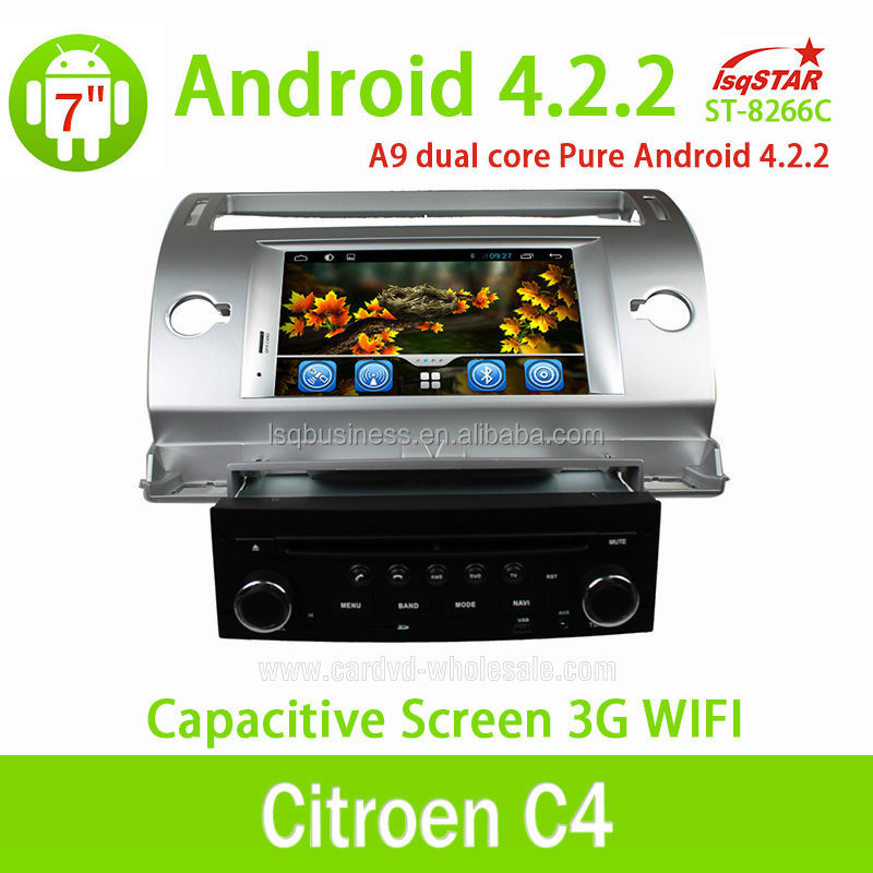 Wholesale Dual Core CPU 1G RAM Multi-touch Capacitive Screen 3G Wifi Fit for Citroen C4 Android 4.2.2 Car Radio With Gps