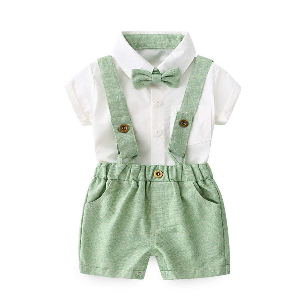 Moyikiss Studio Summer Kids Baby Boys Gentleman Bowtie Short Sleeve Shirt+Suspenders Shorts Casual Outfit Set
