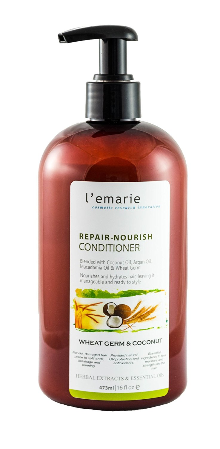 L'emarie Wheat Germ and Coconut Oil Hair Conditioner w/ Argan Oil and Macadamia Oil for Dry, Damaged Hair and Color Treated Hair | 16 oz Hair Conditioner for Men and Women