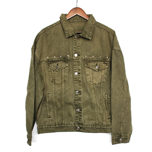 men's denim jacket100% cotton garment dyed khaki color drop shoulder jacket over size men jacket