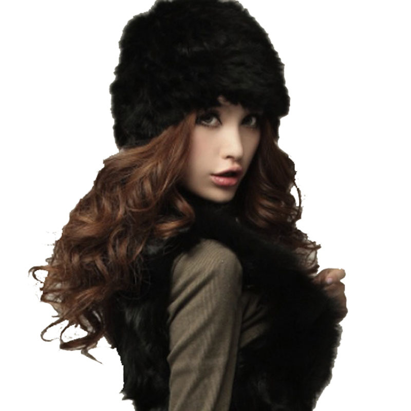 Genuine knitting Rabbit Fur Hat new fashion 2015 Nature Rabbit fur Cap Headgear Headdress Various Fashion Women
