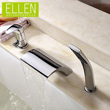 Deck Mount Bathtub Tap Waterfall Faucet With Hand Shower