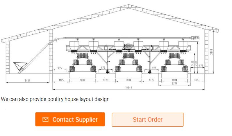 Diseño profesional de tipo H cría de pollos jaula sistema