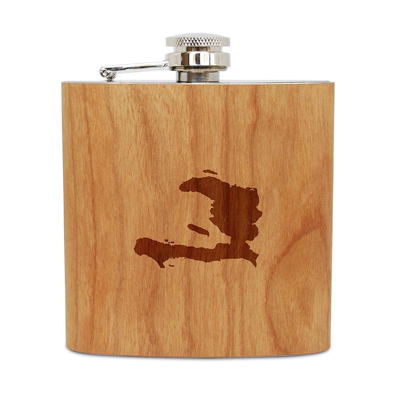 WOODEN ACCESSORIES COMPANY Cherry Wood Flask With Stainless Steel Body - Laser Engraved Flask With Haiti Design - 6 Oz Wood Hip Flask Handmade In USA