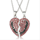 Wholesale Personalized Crystal Heart Mother Daughter Necklace