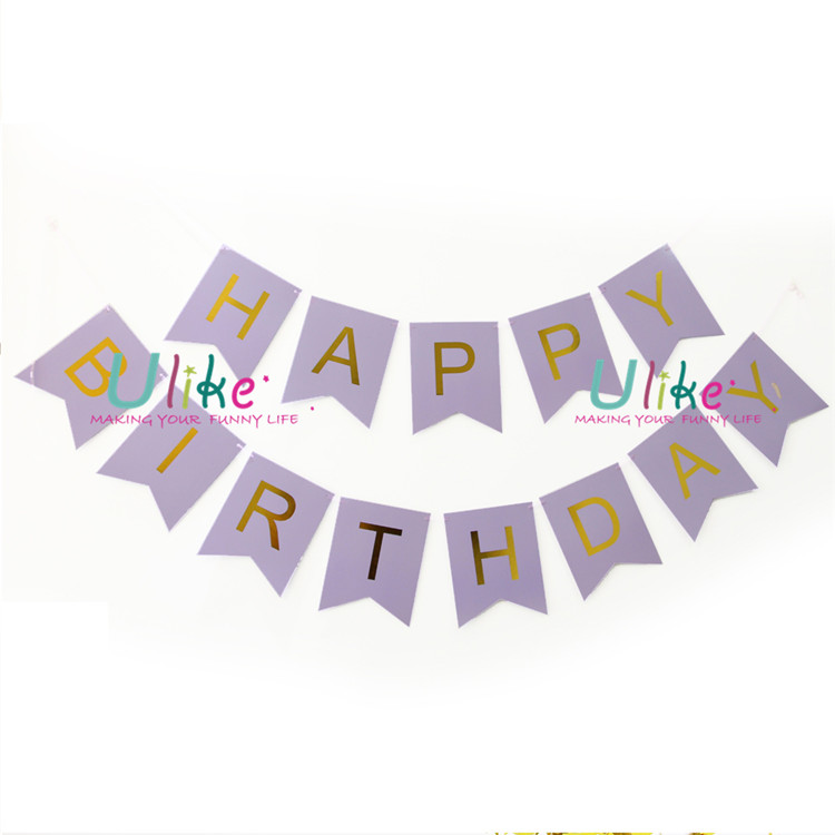Pastel Gold Glittered Foil Happy Birthday Bunting Banner Garland, 1st Birthday Party Decoration Sign, Purple