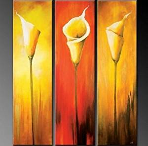 Large Oil Painting Calla Lily Flower Painting 3 Piece Wall Art Group Painting Abstract Painting Canvas Art Modern Art 100% Hand Painted Art Abstract Art (Unframed and Unstretched)