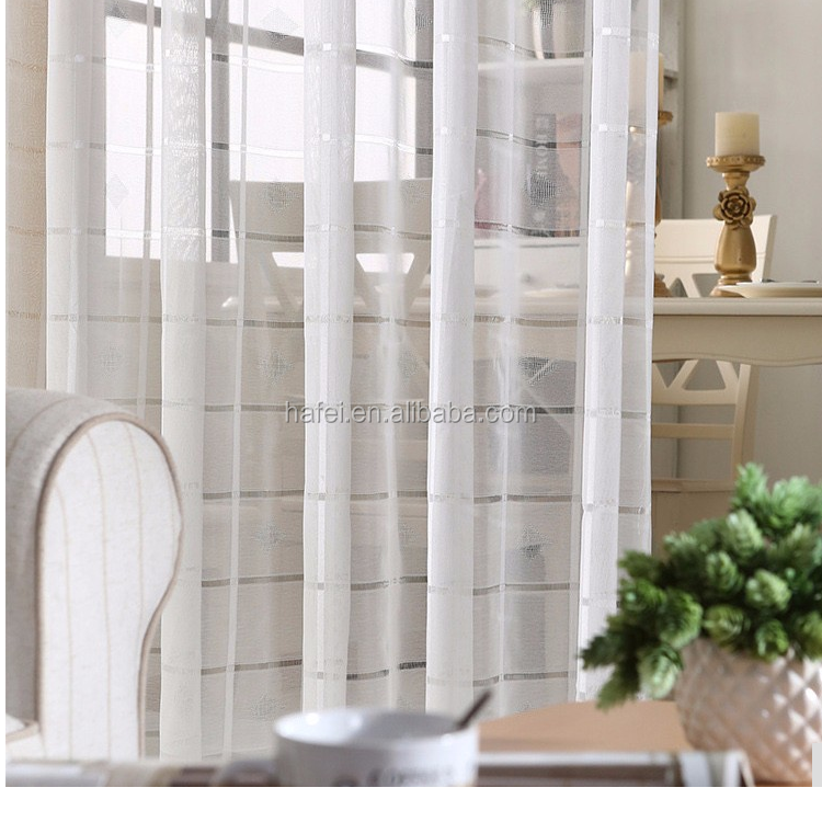 Modern White Plaid Embroidered Voile Living Room Tulle Sheer Curtains