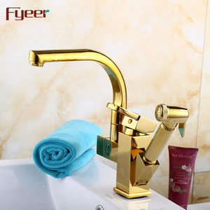 Fyeer New Golden Double Spray Pull Out Kitchen Faucet with Pre Rinse Spray