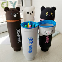 Custom logo silicone stand up pencil case pencil bag pen holder