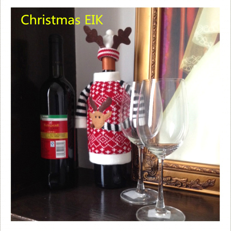 Christmas Decoration Red Wine Bottle Covers Clothes With Hats For Home Dinner Party Or Gift