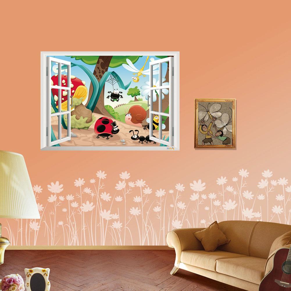 Glass Front Kids Room Decor: 2016 3D Cute Cartoon Flower Zoo Wall Stickers DIY Decal