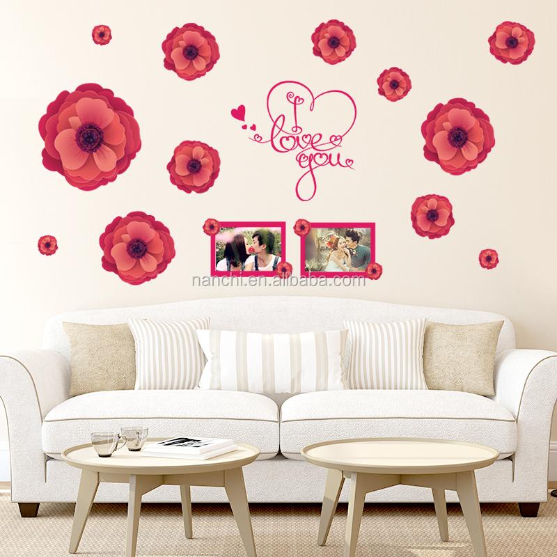 Grandes flores vermelhas te amo Romântico adesivos de  ~ Adesivo De Parede Para Quarto Casal Romantico