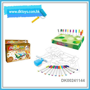 Educational Spraying Dinosaur Paiting With Blow Pen Toys For Kids EN71 ASTM Certificate