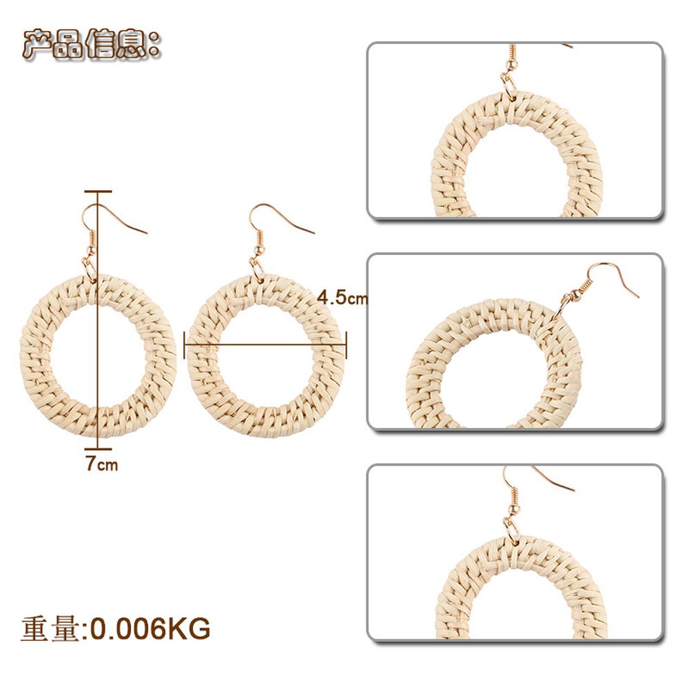 Handmade Straw Rattan Braided raffia wrapped Earrings Natural Concise Style Drop Earrings Eardrop
