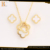 custome rose flower shaped shell gold jewelry set bulk
