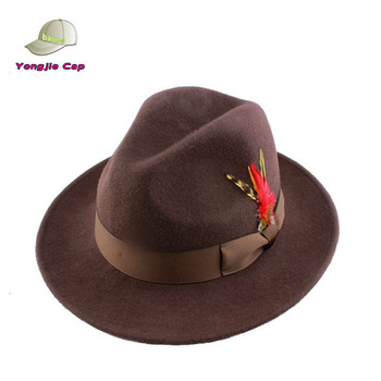 Hot Customize Men s Crushable Wool Felt Fedora Hat With Feather ... dadef611960