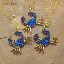 NM10389 Micro Pave Royal Blue Zircon Pure Gold Plated Crab Necklace
