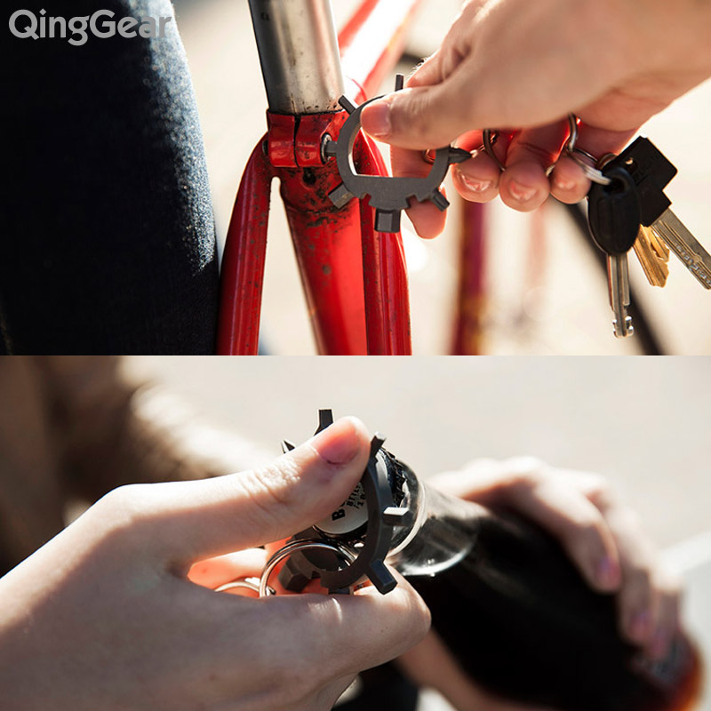 QingGear Ringtool The World's Most Compact Multifunctional tool 12 function in 1 kits EDC Hexhead Screwdriver Spoke wrench