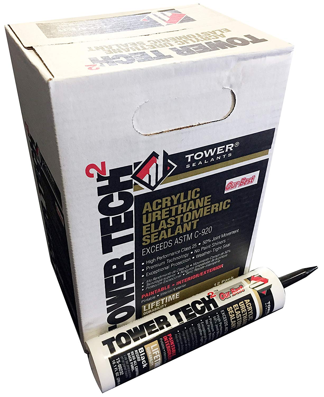 Tower Sealants TS-00232 10.1 fl-Ounce Tower Tech 2 Acrylic Urethane Sealant, Black - Pack of 12
