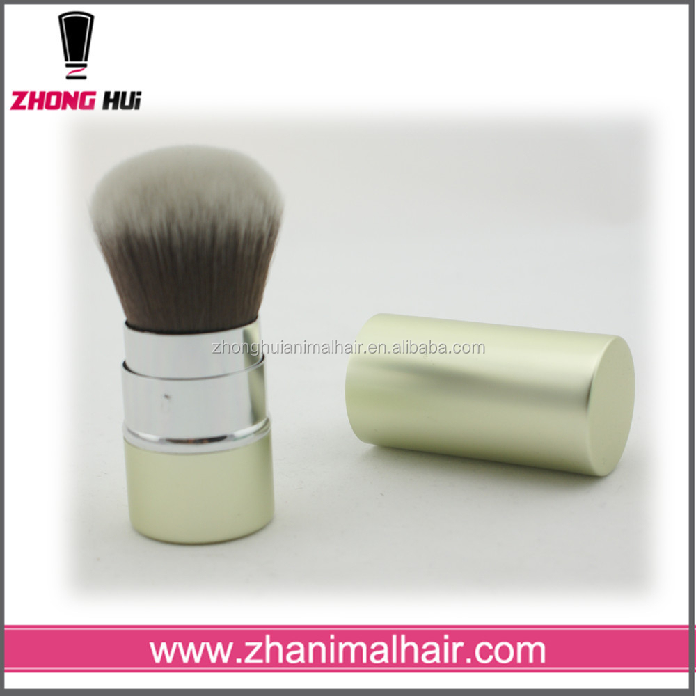 High quality makeup brush light green retractable powder brush