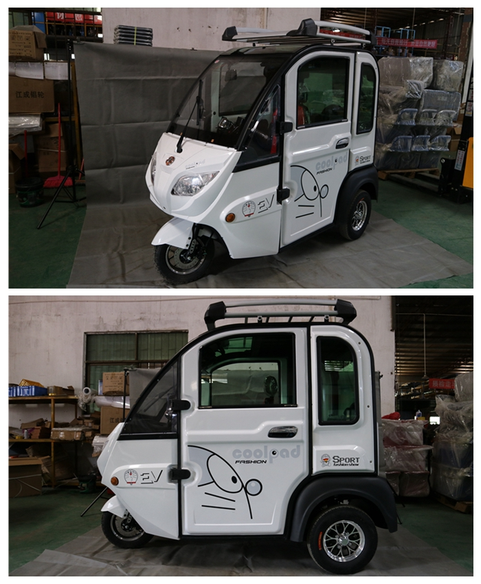 Small cab single enclosed tricycles with passenger seats