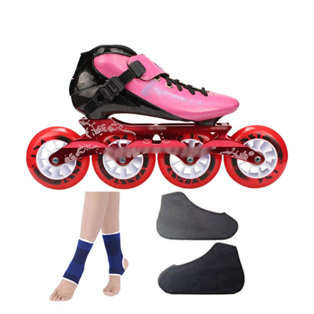 ZCRFY Carbon Fiber Speed Skating Shoes Racing Shoes Professional Adult Children's Large Roller Skating Shoes Roller Skates Inline Roller Skates Pink,Pink-39