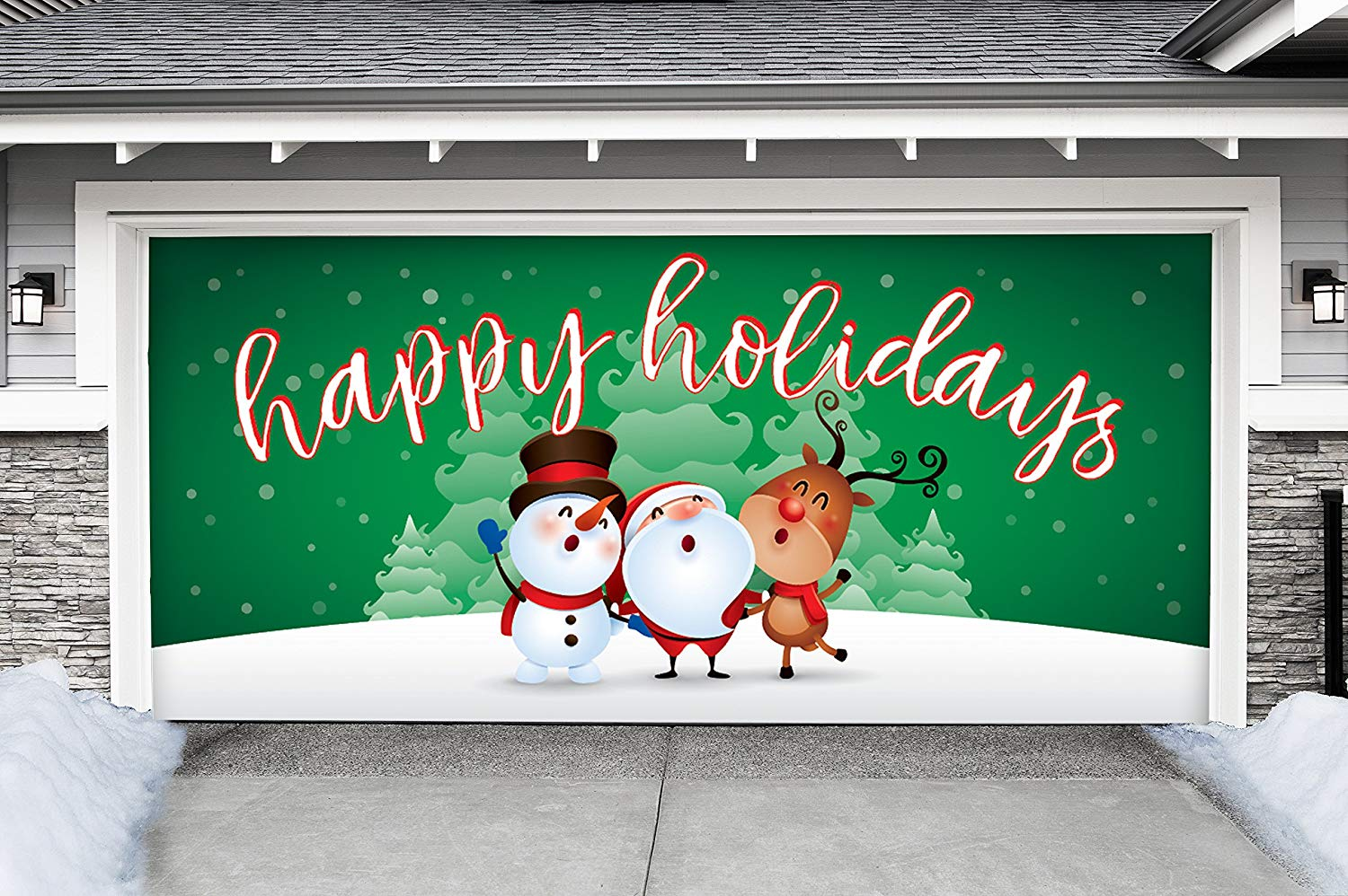 Victory Corps Outdoor Christmas Holiday Garage Door Banner Cover Mural Décoration - Christmas Characters Happy Holidays Winter - Outdoor Christmas Holiday Garage Door Banner Décor Sign 7'x16'