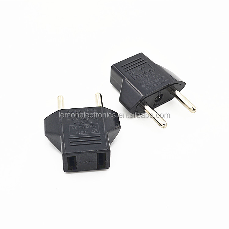 US to EU AC Power Plug Travel Converter Adapter Black