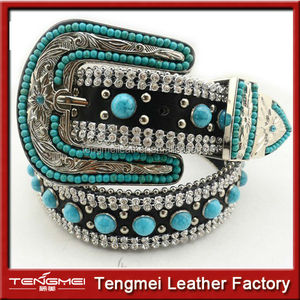 Fashion Cowgirl Western Sparkling Turquoise Strass Chain Rhinestone Beaded Wedding Sash Belt