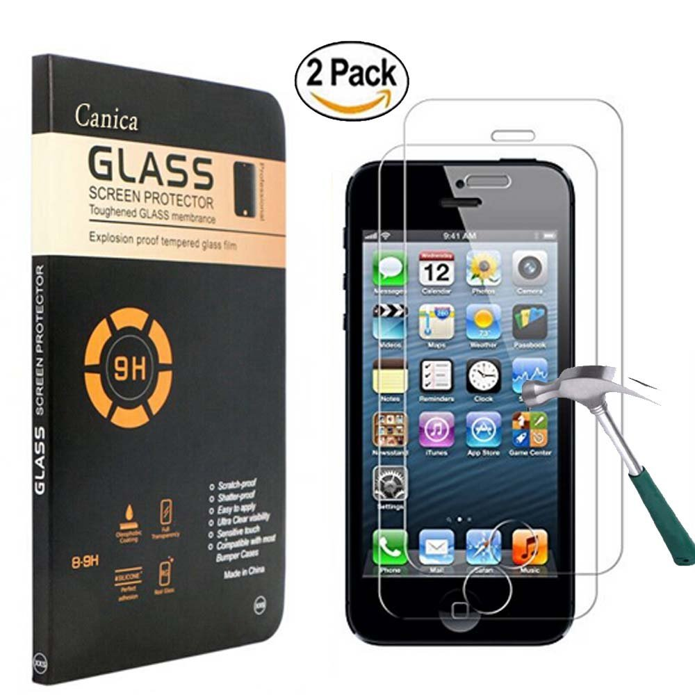 iPhone 5S Screen Protector,iPhone SE/ 5S/ 5C/ 5 Glass Screen Protector,Canica iPhone 5S Tempered Glass [9H Hardness][2.5D Round Edge] Screen Protector for iPhone SE/ 5S/ 5C/ 5 (2 Pack)
