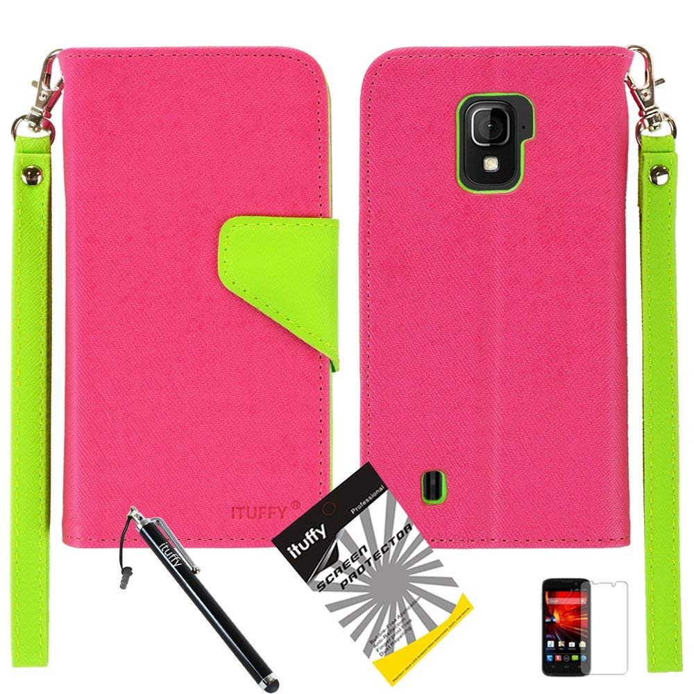 3 items Combo: ITUFFY (TM) LCD Screen Protector Film + Mini Stylus Pen + 2-Tone Leather Wallet & ID Card Case with lanyard for ZTE SOURCE N9511 / ZTE Majesty Z796c - (StraightTalk, Net10, Cricket) (Hot Pink / Green)