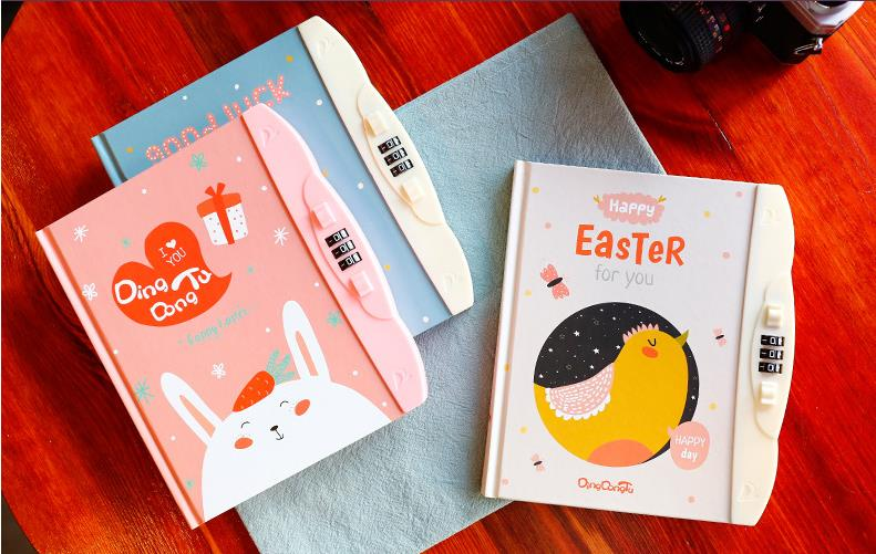 Wholesale Stock Small Order Cartoon Stationery Kids Dairy Notebook with Code