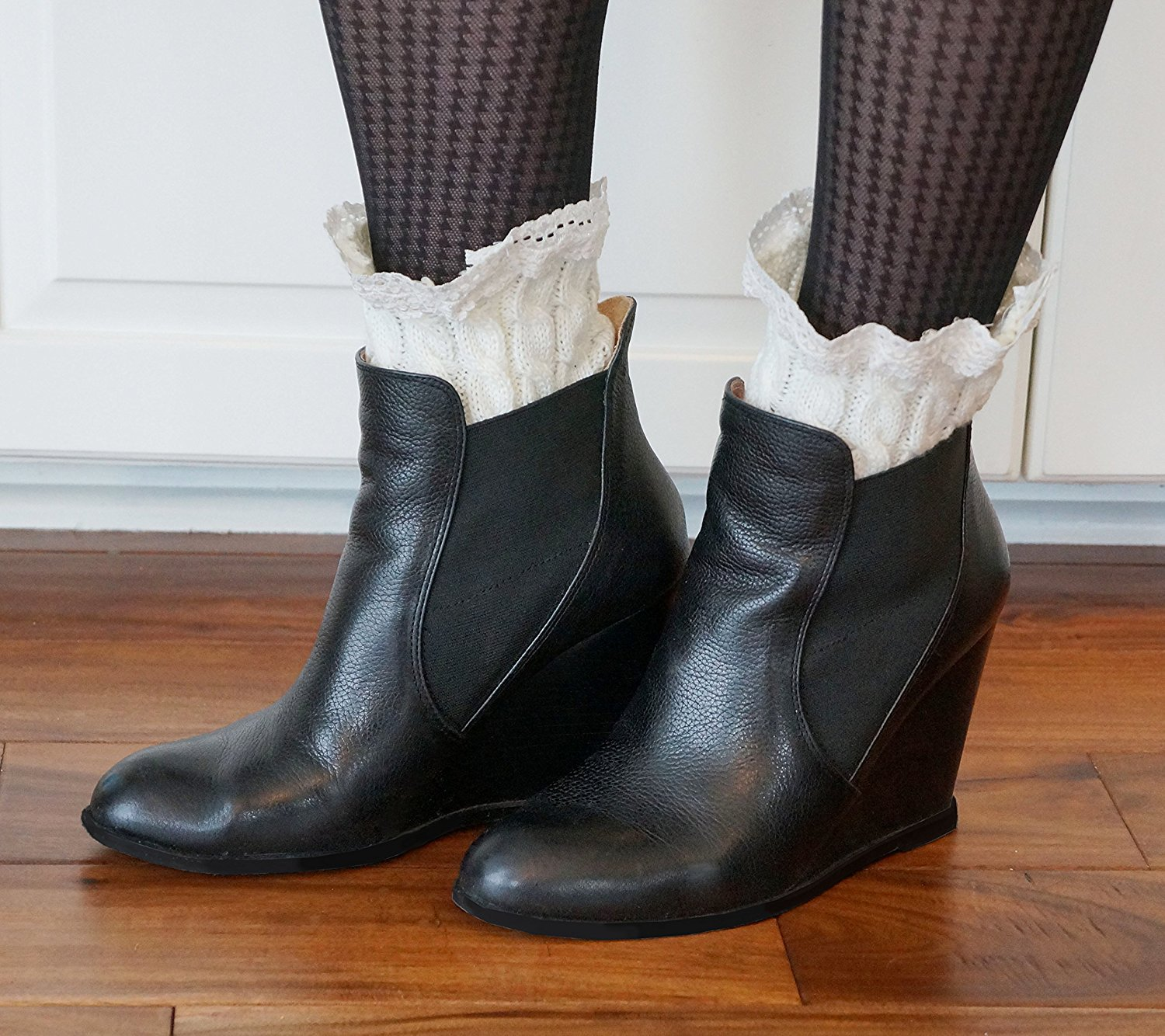 Boot Cuffs: Cable Knit and Lace Toppers for Boots, Boot Socks, Boot Cuff, Leg Warmers (One Pair) (Cream)