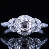 Prong Set 5mm Round Cut Engagement Wedding Semi Mount Ring(PES6-1980)