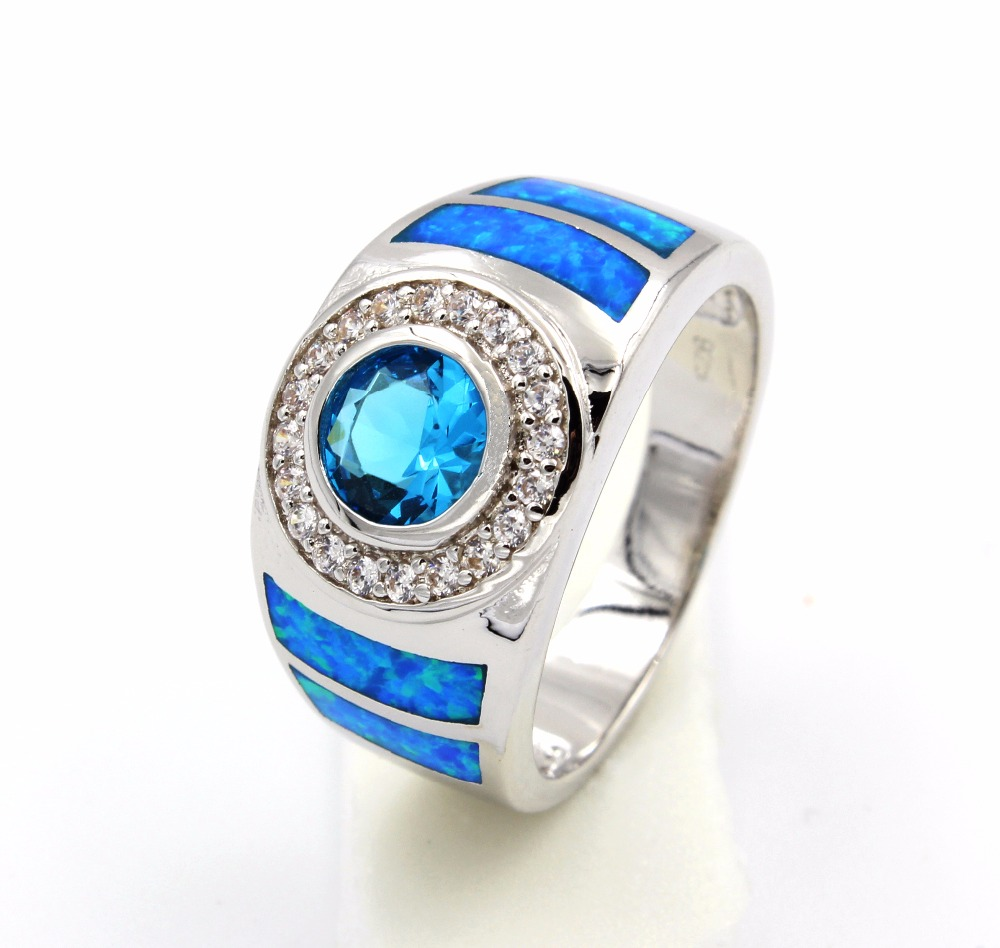 Men's Blue Fire Opal Ring With Cubic Zirconia-in Rings