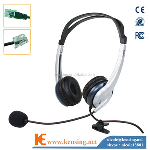 RJ9 headset with microphone and QD connector , telephone headset