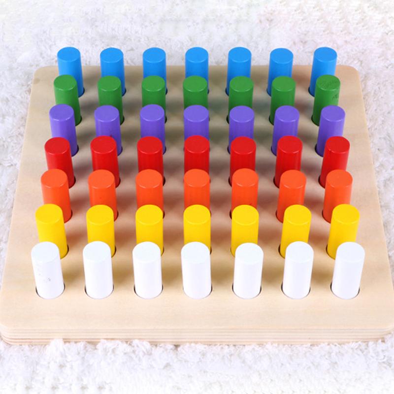 วัสดุ Montessori ของเล่นเกมการศึกษา Cylinder Socket Blocks คณิตศาสตร์ไม้ของเล่นเด็กของเล่นเพื่อการศึกษาก่อน